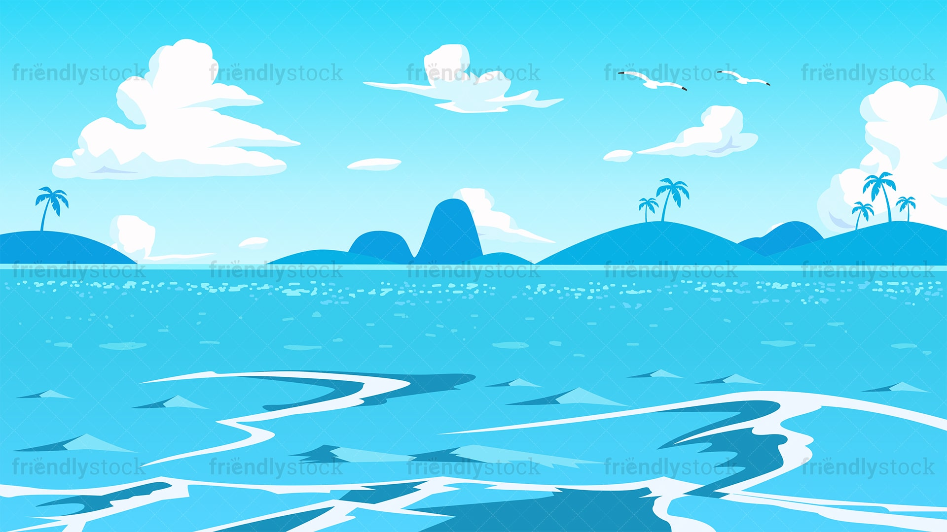 Deep Blue Sea Background Cartoon Vector Clipart Friendlystock