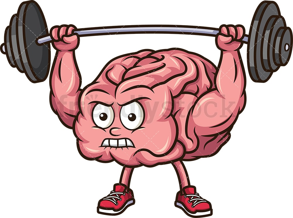 brain exercising with barbell cartoon clipart vector friendlystock brain exercising with barbell cartoon clipart vector friendlystock