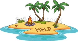 Island with help distress signal. PNG - JPG and vector EPS (infinitely scalable).