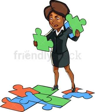 Black business woman solving puzzle. PNG - JPG and vector EPS file formats (infinitely scalable). Image isolated on transparent background.