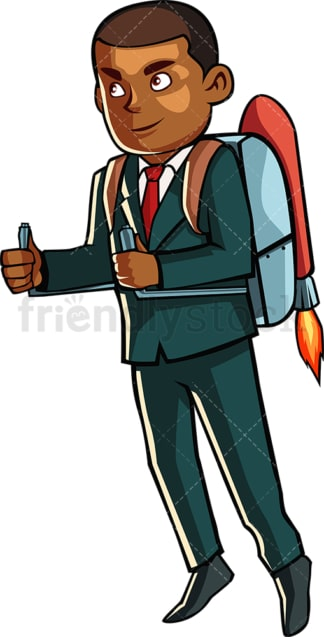 Black man with jetpack. PNG - JPG and vector EPS file formats (infinitely scalable). Image isolated on transparent background.