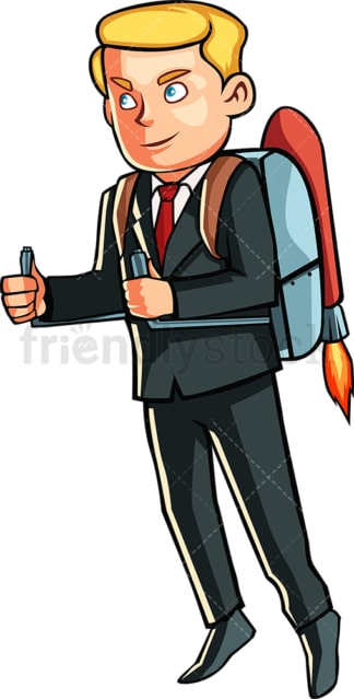 Businessman with jetpack. PNG - JPG and vector EPS file formats (infinitely scalable). Image isolated on transparent background.