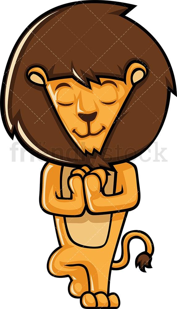 Lion Doing Yoga Cartoon Clipart Vector Friendlystock