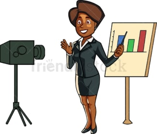 Black business woman conference call. PNG - JPG and vector EPS file formats (infinitely scalable). Image isolated on transparent background.