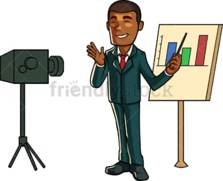 Black man recording a video presentation. PNG - JPG and vector EPS file formats (infinitely scalable). Image isolated on transparent background.