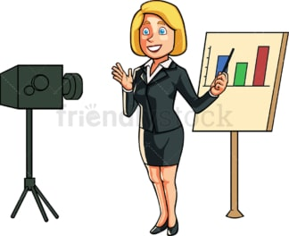 Woman recording herself during presentation. PNG - JPG and vector EPS file formats (infinitely scalable). Image isolated on transparent background.