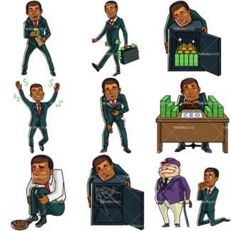 9 money themed vectors of a black businessman. PNG - JPG and vector EPS file formats (infinitely scalable). Images isolated on transparent background.