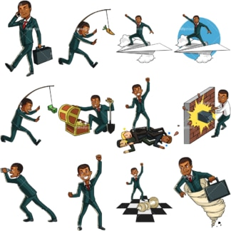 9 vector graphics of a black businessman collection #6. PNG - JPG and vector EPS file formats (infinitely scalable). Images isolated on transparent background.