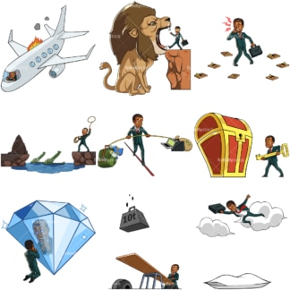 9 vectors of a black male entrepreneur in business themed poses. PNG - JPG and vector EPS file formats (infinitely scalable). Images isolated on transparent background.