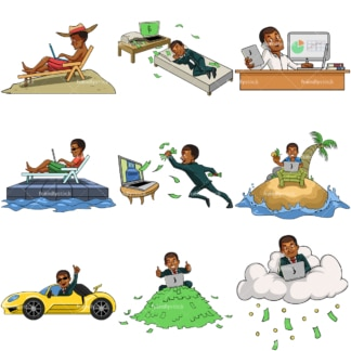 Black online entrepreneur enjoying success. PNG - JPG and vector EPS file formats (infinitely scalable). Images isolated on transparent background.