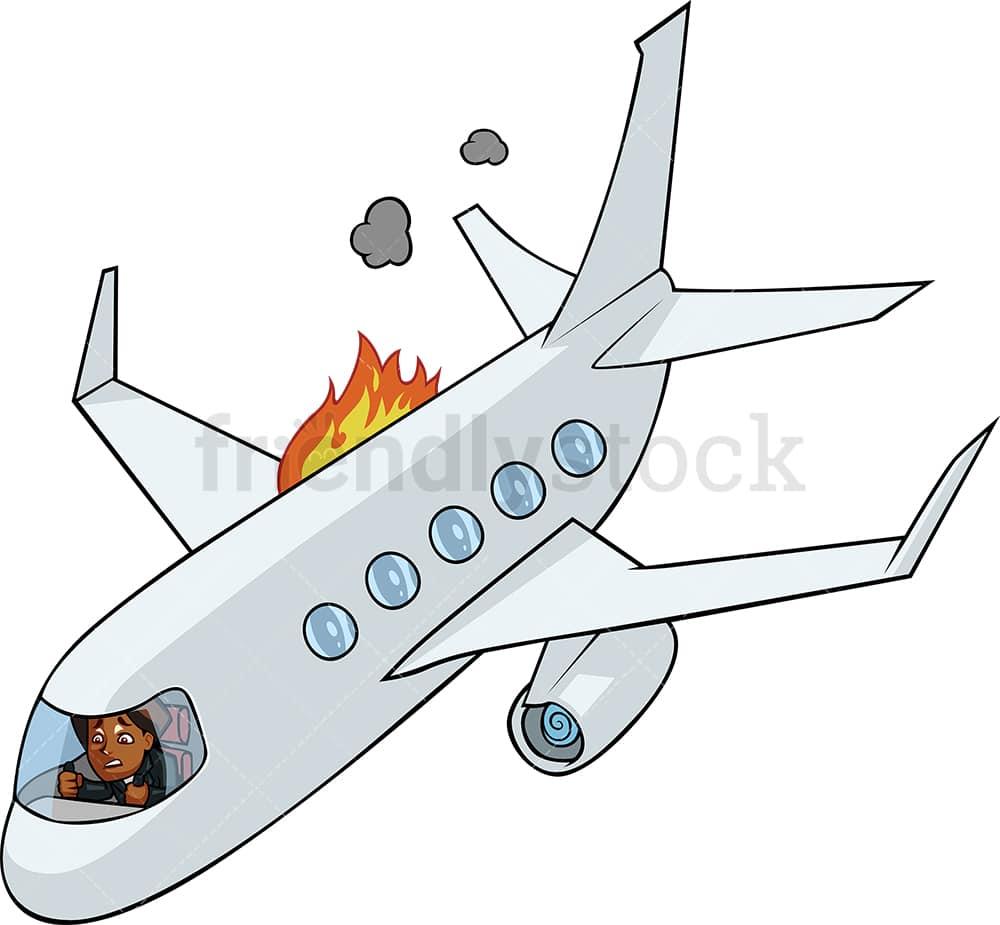Black Woman In Airplane Going Down Cartoon Vector Friendlystock
