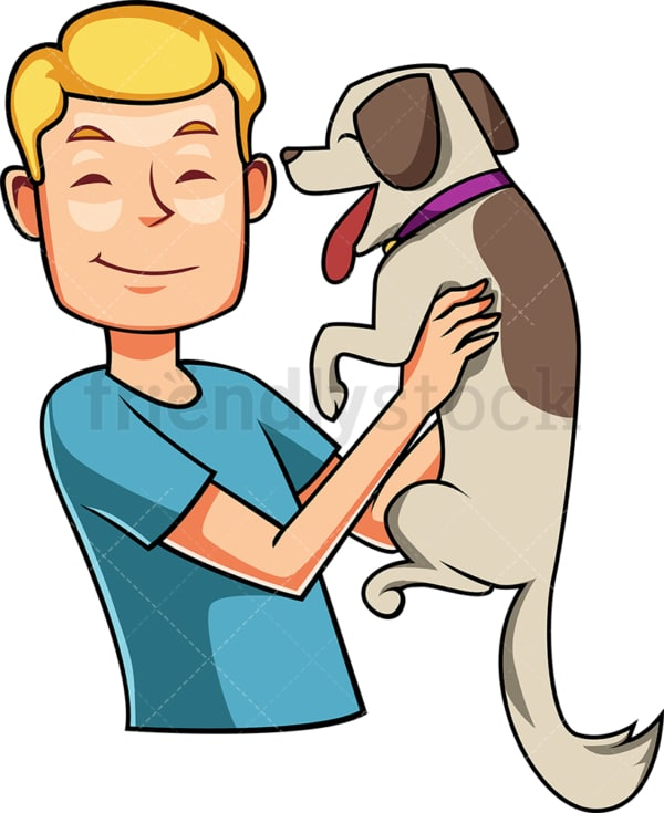 Happy man greeting his dog. PNG - JPG and vector EPS file formats (infinitely scalable). Image isolated on transparent background.