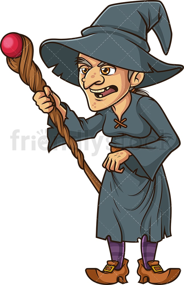 Wicked Witch Casting Spell With Staff Cartoon Clipart Vector Friendlystock