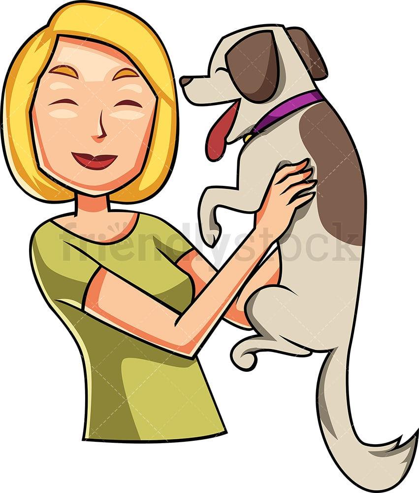 Woman Greeting Her Happy Dog Cartoon Vector Clipart Friendlystock