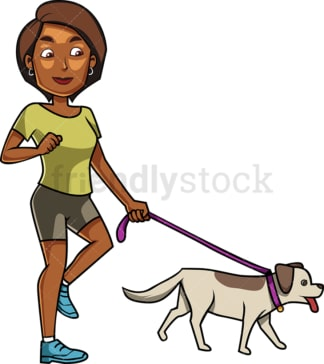 Black woman walking her dog. PNG - JPG and vector EPS file formats (infinitely scalable). Image isolated on transparent background.