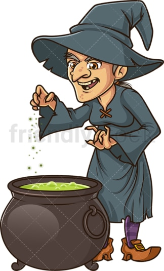 Evil witch casting spell in cauldron. PNG - JPG and vector EPS (infinitely scalable).