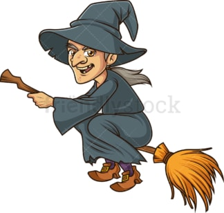 Evil witch flying on broomstick. PNG - JPG and vector EPS (infinitely scalable).