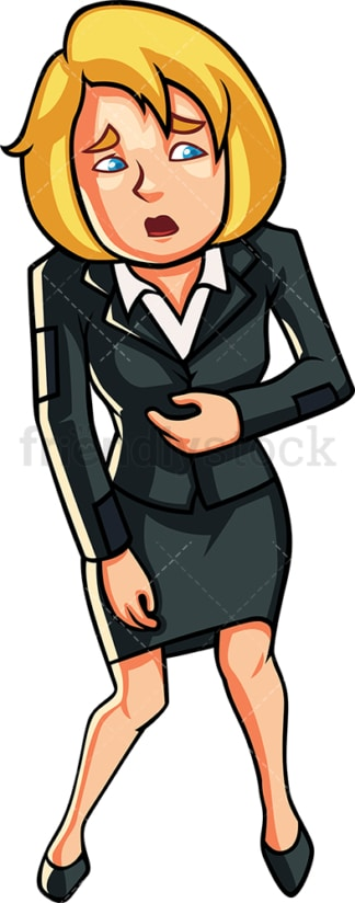 Businesswoman clutching her stomach. PNG - JPG and vector EPS file formats (infinitely scalable). Image isolated on transparent background.