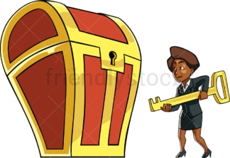 Black business woman holding treasure chest key. PNG - JPG and vector EPS file formats (infinitely scalable). Image isolated on transparent background.
