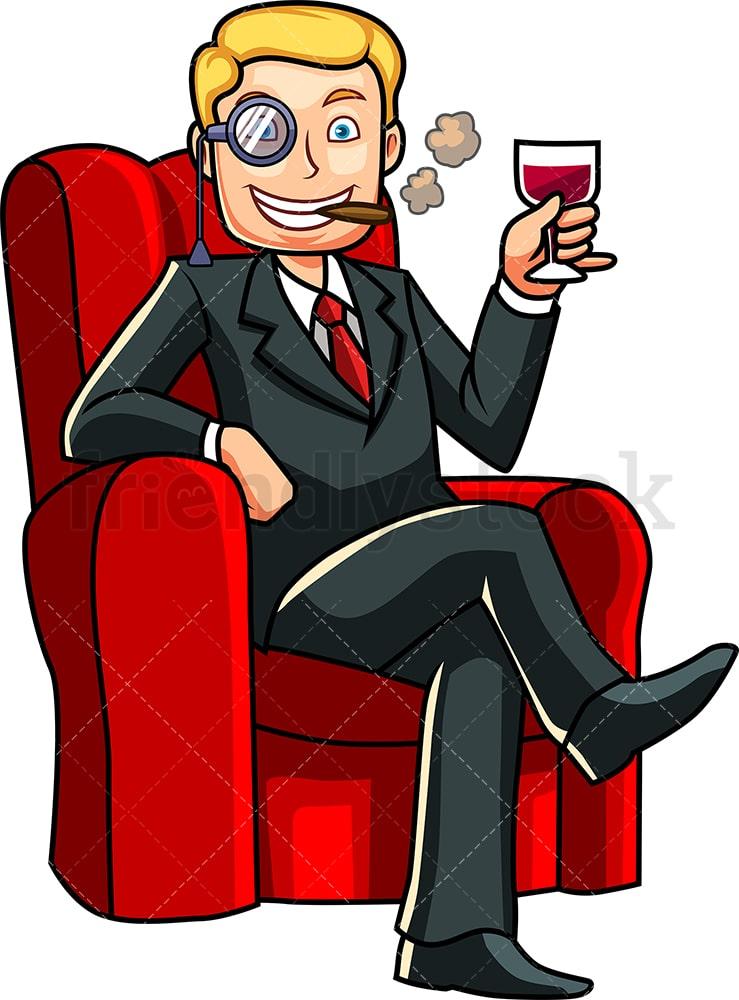 Rich Man Relaxing Drinking Wine Cartoon Vector Clipart Friendlystock