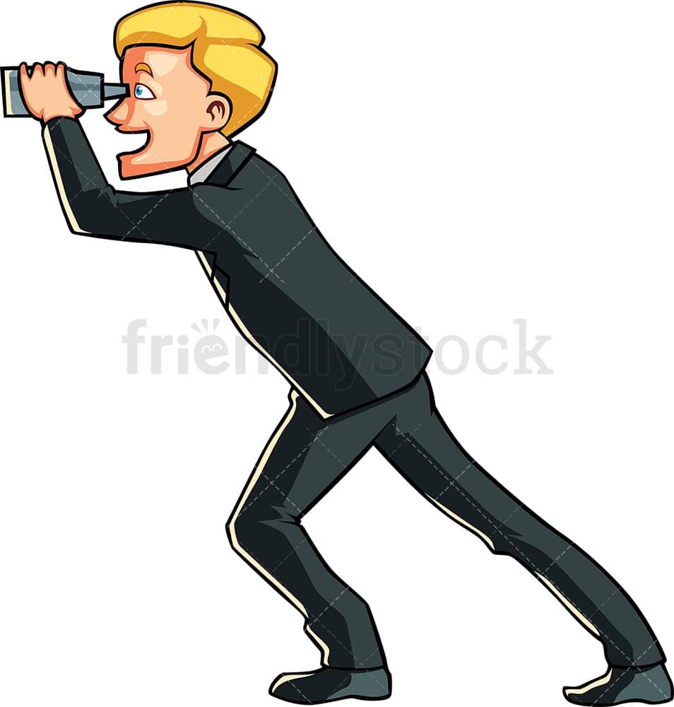Businessman With Binoculars Cartoon Vector Clipart Friendlystock