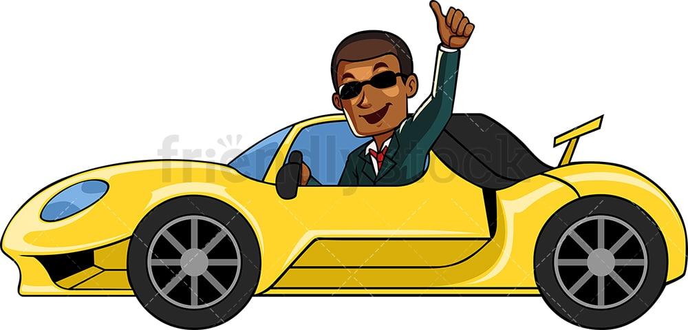 Rick Black Businessman Driving Fancy Car Cartoon Vector Clipart Friendlystock