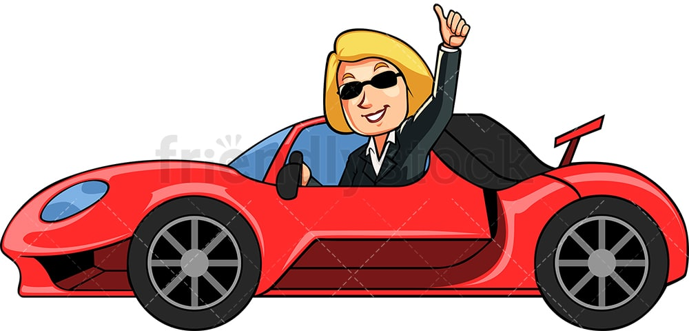 Successful Businesswoman With Fancy Car Cartoon Vector Clipart Friendlystock