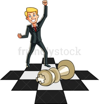 Businessman winning chess game. PNG - JPG and vector EPS file formats (infinitely scalable). Image isolated on transparent background.