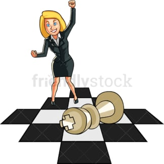 Businesswoman standing on a chess board. PNG - JPG and vector EPS file formats (infinitely scalable). Image isolated on transparent background.