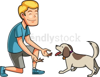 Man playing with his dog. PNG - JPG and vector EPS file formats (infinitely scalable). Image isolated on transparent background.