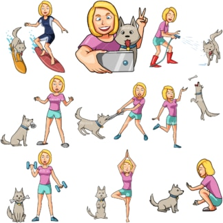 10 vector images of a woman having fun with her dog. PNG - JPG and vector EPS file formats (infinitely scalable). Images isolated on transparent background.