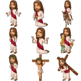 Jesus Christ Cartoons. PNG - JPG and infinitely scalable vector EPS - on white or transparent background.
