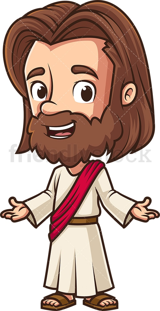 Kawaii Jesus Welcoming Everyone Cartoon Clipart Vector Friendlystock
