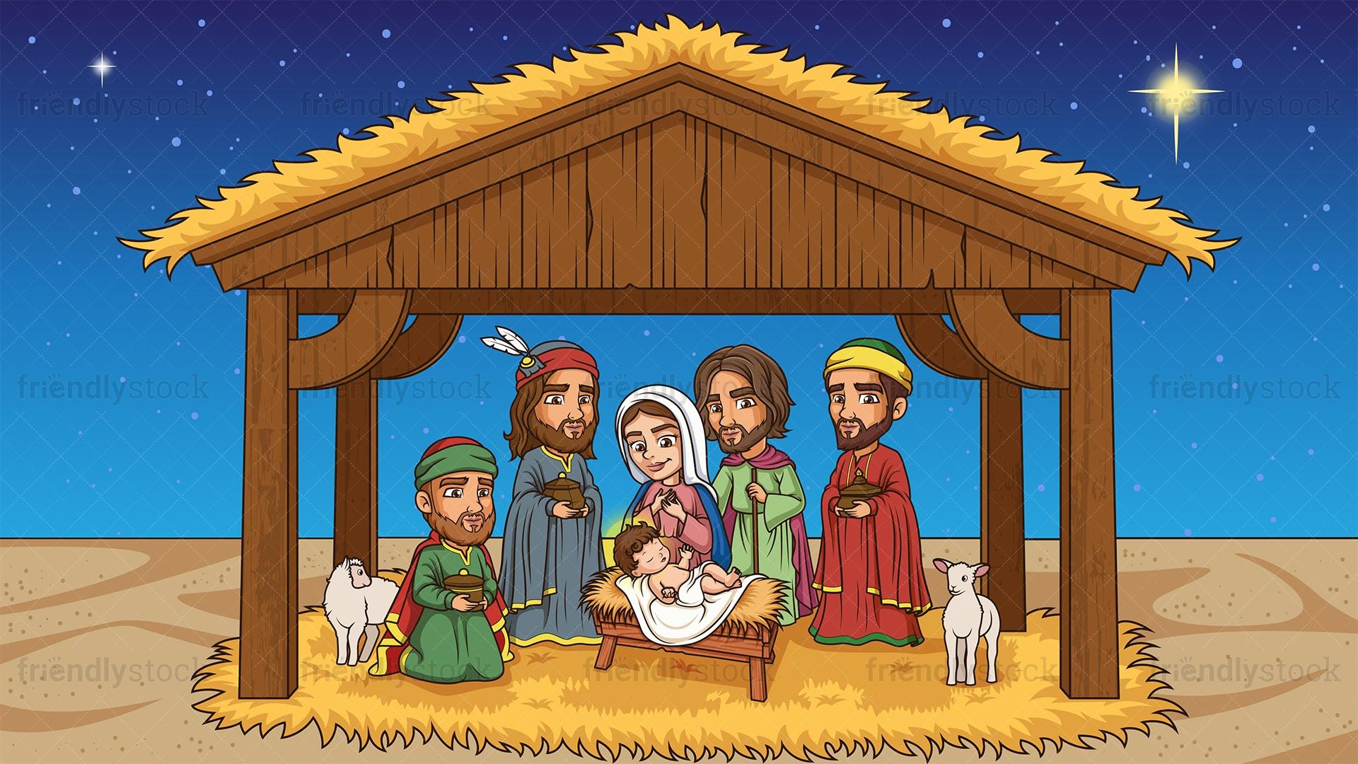 Nativity Scene The Birth Of Jesus Christ Cartoon Vector Clipart Friendlystock