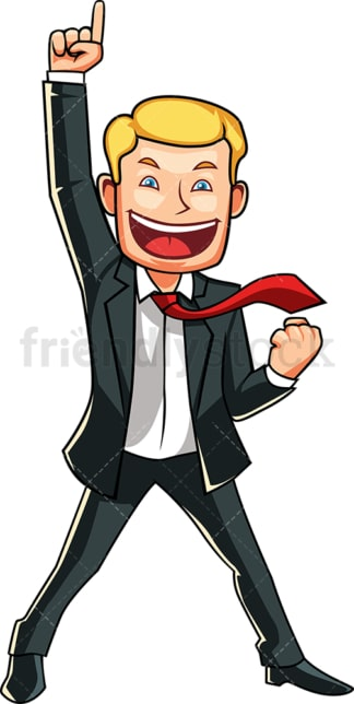 Businessman feeling like a winner. PNG - JPG and vector EPS file formats (infinitely scalable). Image isolated on transparent background.
