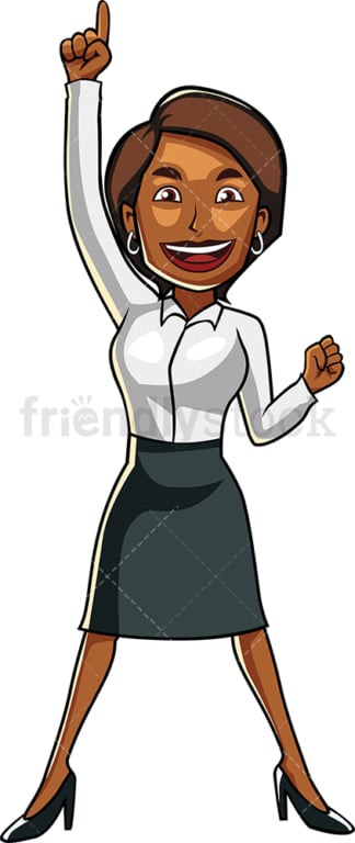 Winning black businesswoman. PNG - JPG and vector EPS file formats (infinitely scalable). Image isolated on transparent background.