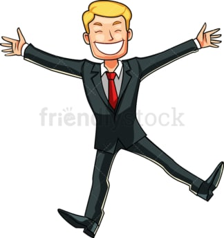 Businessman doing a happy dance. PNG - JPG and vector EPS file formats (infinitely scalable). Image isolated on transparent background.