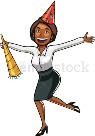 Black businesswoman partying. PNG - JPG and vector EPS file formats (infinitely scalable). Image isolated on transparent background.
