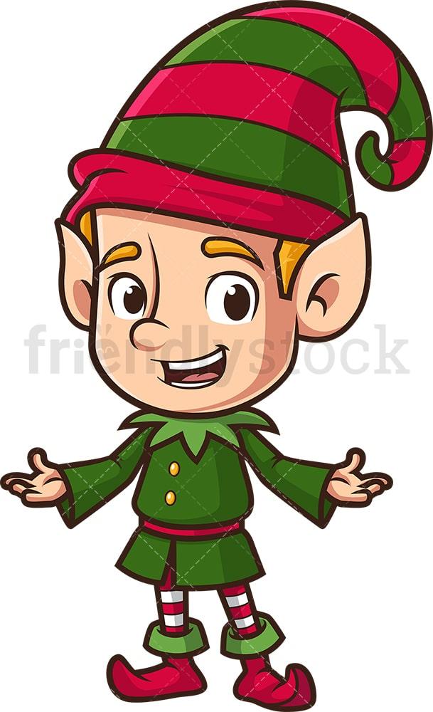 Christmas Elf Cartoon Clipart Vector