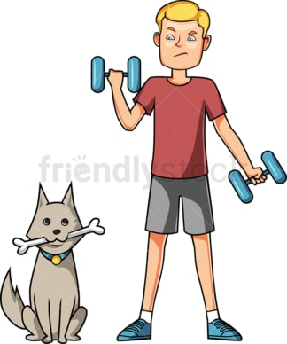 Man exercising next to his dog. PNG - JPG and vector EPS file formats (infinitely scalable). Image isolated on transparent background.