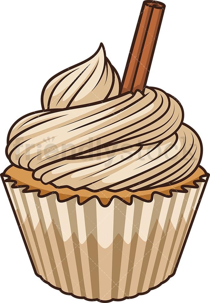 Apple Cinnamon Cupcake Cartoon Vector Clipart Friendlystock