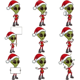 Christmas alien with santa hat. PNG - JPG and infinitely scalable vector EPS - on white or transparent background.