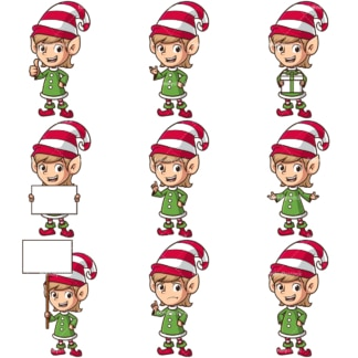 Female christmas elf. PNG - JPG and infinitely scalable vector EPS - on white or transparent background.