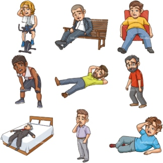 Exhausted men. PNG - JPG and infinitely scalable vector EPS - on white or transparent background.