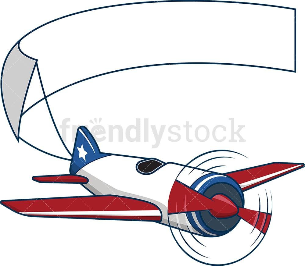 American Plane Carrying Blank Banner Cartoon Vector Clipart