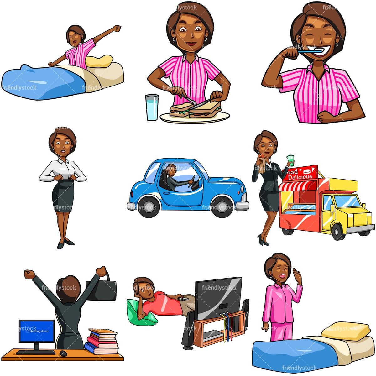 Black Woman Daily Routine Cartoon Vector Clipart Friendlystock