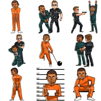 Cartoon black man in legal trouble & under arrest. PNG - JPG and vector EPS file formats (infinitely scalable). Images isolated on transparent background.