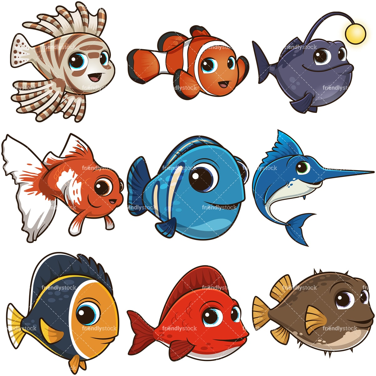 Cartoon Cute Fish Clipart Vector Collection Friendlystock