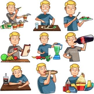 Cartoon man eating & drinking. PNG - JPG and vector EPS file formats (infinitely scalable). Images isolated on transparent background.