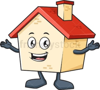 Welcoming house mascot. PNG - JPG and vector EPS (infinitely scalable).